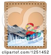 Clipart Of An Aged Parchment Page With A Girl Snowboarding Royalty Free Vector Illustration