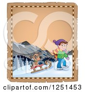 Clipart Of An Aged Parchment Page With A Boy And Dog Sledding Royalty Free Vector Illustration