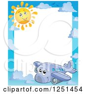 Clipart Of A Border Of A Happy Cute Airplane And Sun Royalty Free Vector Illustration by visekart