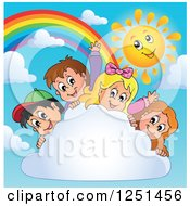 Children Behind A Cloud With A Rainbow And Happy Sun