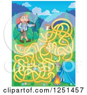 Clipart Of A Male Hiker With A Camp Site And Maze Royalty Free Vector Illustration by visekart