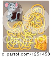 Clipart Of A Mouse Peeking Out Of A Hole Over Cheese And Maze Royalty Free Vector Illustration