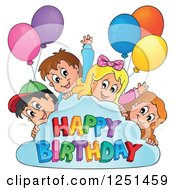 Clipart Of Children Peeking Around A Cloud With Party Balloons And Happy Birthday Text Royalty Free Vector Illustration by visekart