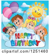 Clipart Of Children Looking Around A Cloud With Party Balloons And Happy Birthday Text Royalty Free Vector Illustration by visekart