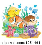 Clipart Of A Starfish Octopus And Marine Fish Royalty Free Vector Illustration