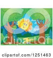 Clipart Of Trees Framing A Path And Happy Sun Looking Over Mountains Royalty Free Vector Illustration by visekart