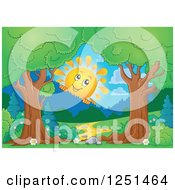 Clipart Of Trees Framing A Path And Happy Sun Peeking Over Mountains Royalty Free Vector Illustration by visekart