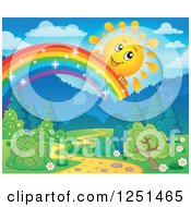 Clipart Of A Happy Sun Peeking Over A Magical Rainbow Over A Path And Forest Royalty Free Vector Illustration