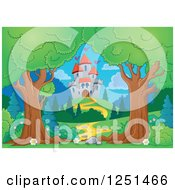 Clipart Of Trees Framing A Path Leading To A Castle Royalty Free Vector Illustration by visekart