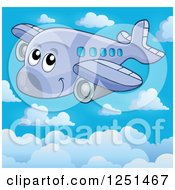 Clipart Of A Happy Cute Airplane Above The Clouds Royalty Free Vector Illustration by visekart