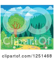 Clipart Of A Curvy Path Leading To A Forest Royalty Free Vector Illustration by visekart