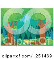 Clipart Of Trees Framing A Path Leading To A Forest Royalty Free Vector Illustration by visekart