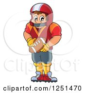 Clipart Of A Male American Football Player Holding A Ball Royalty Free Vector Illustration