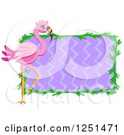 Pink Flamingo Bird Over Purple Zig Zags