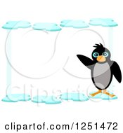 Waving Penguin And Ice Border