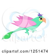Flying Green And Pink Parrot