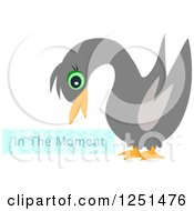 Clipart Of A Black Swan With In The Moment Text Royalty Free Vector Illustration