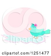 Happy Bluebird Over A Pink Oval