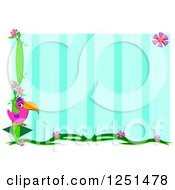 Pink Parrot And Floral Border Over Stripes