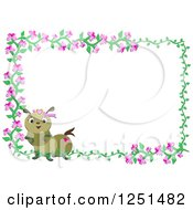 Pink Flowering Vine And Caterpillar Frame