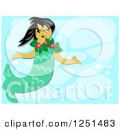 Happy Mermaid Girl In Blue Water
