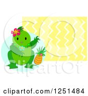 Tropical Frog And Pineapple Over Zig Zags