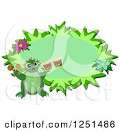Turtle With Drums Over A Green Floral Oval