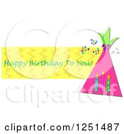 Clipart Of A Party Hat And Candles With Happy Birthday To You Text Royalty Free Vector Illustration by bpearth