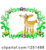 Cute Deer In A Floral Frame