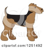 Clipart Of A Cute Airedale Terrier Puppy Dog In Profile Royalty Free Vector Illustration
