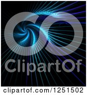 Clipart Of A Spiraling Glowing Blue Fractal Background Royalty Free Illustration