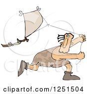 Caveman Running And Flying A Kite