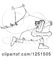 Clipart Of A Black And White Caveman Running And Flying A Kite Royalty Free Vector Illustration