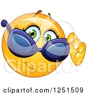 Clipart Of A Cool Emoticon Smiley Looking Over Sunglasses Royalty Free Vector Illustration