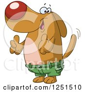 Clipart Of A Happy Dog Wagging His Tail Giving A Thumb Up And Wearing Shorts Royalty Free Vector Illustration