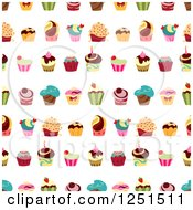 Seamless Colorful Cupcake Background Pattern