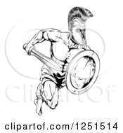 Clipart Of A Black And White Running Trojan Gladiator With A Shield And Sword Royalty Free Vector Illustration by AtStockIllustration