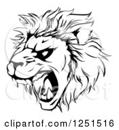 Clipart Of A Black And White Roaring Aggressive Lion Mascot Head Royalty Free Vector Illustration