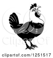 Clipart Of A Black And White Crowing Rooster Royalty Free Vector Illustration by AtStockIllustration