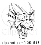 Clipart Of A Black And White Fierce Dragon Mascot Head Royalty Free Vector Illustration