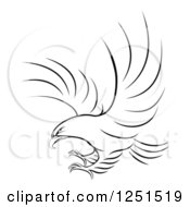 Clipart Of A Black And White Eagle Ready To Grab Prey Royalty Free Vector Illustration by AtStockIllustration