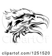 Clipart Of A Black And White Eagle Head In Profile Royalty Free Vector Illustration