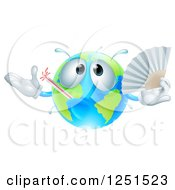 Clipart Of A 3d Sick Earth Globe Waving A Fan Royalty Free Vector Illustration by AtStockIllustration