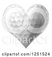 Clipart Of A 3d Heart Shaped Golf Ball Royalty Free Vector Illustration