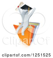 3d Silver Man Graduate Cheering Holding A Diploma And Sitting On A Stack Of Books