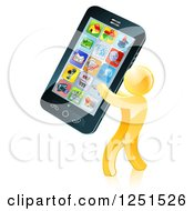 Clipart Of A 3d Gold Man Carrying A Giant Cell Phone Royalty Free Vector Illustration by AtStockIllustration