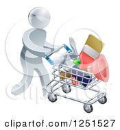 Clipart Of A 3d Silver Man Pushing A Shopping Cart Packed With Tools Royalty Free Vector Illustration by AtStockIllustration