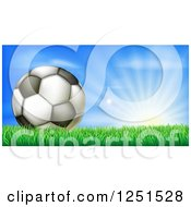 Clipart Of A 3d Soccer Ball In Grass At Sunrise Royalty Free Vector Illustration by AtStockIllustration