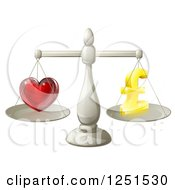 Clipart Of A 3d Silver Scales Balancing Pound Sterling Finances And Love Royalty Free Vector Illustration