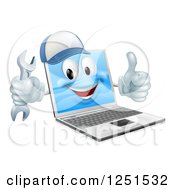 Clipart Of A 3d Laptop Computer Repair Character Holding A Wrench And Thumb Up Royalty Free Vector Illustration